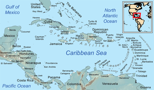 Map of the Caribbean Islands showing St Martin.