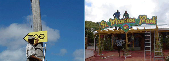 St Maarten Zoo signs.