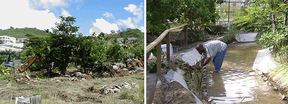 Construction of St Maarten Zoo's Squirrel Monkey island.